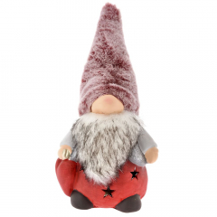 Χριστουγεννιάτικος πήλινος νάνος με κόκκινο σκούφο 17x14x20εκ.