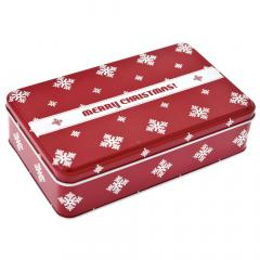 Χριστουγεννιάτικο μεταλλικό κόκκινο κουτί Merry Christmas 19x12x5εκ.