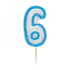 Κεράκι νούμερο 6 με μπλε περίγραμμα