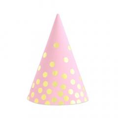 Χάρτινα καπελάκια ροζ πουά 6τεμ
