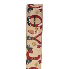 Χριστουγεννιάτικη κορδέλα Joyful Boots μπεζ κόκκινο 5.5εκ.x9μ.