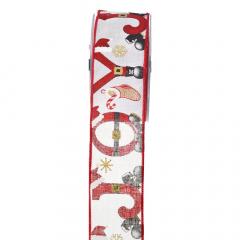 Χριστουγεννιάτικη κορδέλα Joyful Boots λευκό κόκκινο 5.5εκ.x9μ.