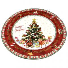 Χριστουγεννιάτικο πλαστικό πιάτο με δέντρο 33εκ.