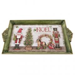 Χριστουγεννιάτικος πλαστικός δίσκος Noel με χερούλι 39x25x3εκ.