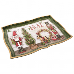 Χριστουγεννιάτικος πλαστικός δίσκος Noel 43x32x3εκ.