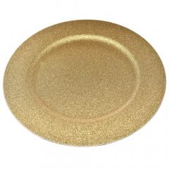 Χριστουγεννιάτικο πλαστικό πιάτο χρυσό με glitter