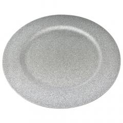 Χριστουγεννιάτικο πλαστικό πιάτο ασημί με glitter