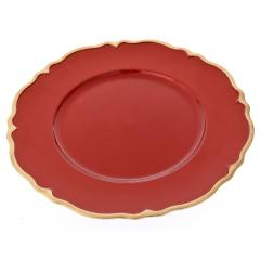 Χριστουγεννιάτικο πλαστικό πιάτο κόκκινο με χρυσό γείσο