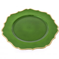 Χριστουγεννιάτικο πλαστικό πιάτο πράσινο με χρυσό γείσο