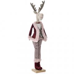 Χριστουγεννιάτικος βελούδινος τάρανδος με κουστούμι 63εκ.