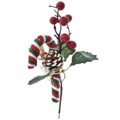 Χριστουγεννιάτικο διακοσμητικό γκι μπαστούνι και κουκουνάρι 22εκ.