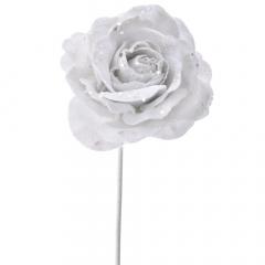 Διακοσμητικό τριαντάφυλλο λευκό κλαδί 60εκ.
