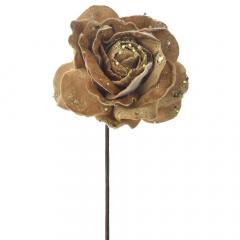 Διακοσμητικό τριαντάφυλλο χρυσό κλαδί 60εκ.