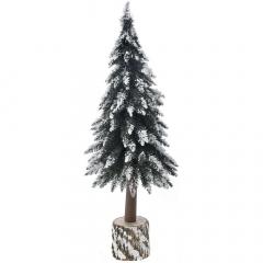 Χριστουγεννιάτικο χιονισμένο δέντρο σε ξύλινο κορμό 100εκ.