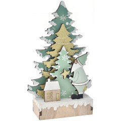 Χριστουγεννιάτικο διακοσμητικό ξύλινο δέντρο με φως 15x6x25εκ.