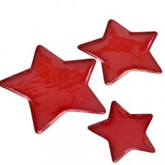 Χριστουγεννιάτικο σετ μεταλλικοί δίσκοι αστέρι κόκκινη λάκα