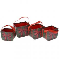 Χριστουγεννιάτικο σετ χάρτινα κουτιά τσάντες με φιόγκο