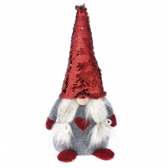 Χριστουγεννιάτικος νάνος γυναίκα γκρι κόκκινος 35εκ.