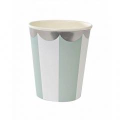 Ποτήρι Meri Meri Aqua stripes με σιέλ γραμμές
