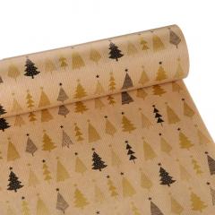 Χριστουγεννιάτικο χαρτί περιτυλίγματος μαύρα- χρυσά έλατα 60εκX10μ