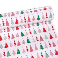 Χριστουγεννιάτικο χαρτί περιτυλίγματος πράσινα- κόκκινα έλατα 60εκX10μ