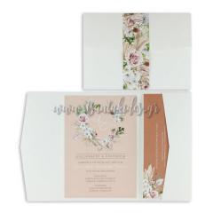 Προσκλητήριο γάμου με bohemian floral στοιχεία Tsantakides