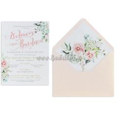 Προσκλητήριο γάμου λευκά – ροζ τριαντάφυλλα και ορτανσίες Tsantakides