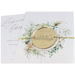 Προσκλητήριο γάμου greenery στοιχεία από κλαδιά Tsantakides