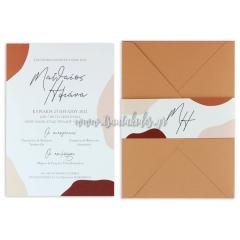 Προσκλητήριο γάμου σε γήινους χρωματισμούς Tsantakides