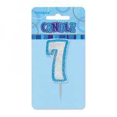 Κεράκι νούμερο 7 με μπλε περίγραμμα