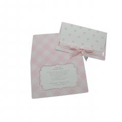 Προσκλητήρια Βάπτισης MyMastoras® – Polka Dots Plaid Pink