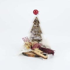 Χριστουγεννιάτικο διακοσμητικό ξύλινο έλατο σε βάση