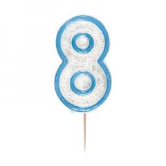 Κεράκι νούμερο 8 με μπλε περίγραμμα
