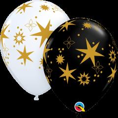 Χριστουγεννιάτικα μπαλόνια λατέξ Χρυσά Αστέρια 5τμχ.
