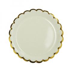 Πιάτα φαγητού 23εκ. χρυσό συννεφάκι μίντ 10τεμ.