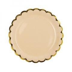 Πιάτα φαγητού 23εκ. χρυσό συννεφάκι ροζ 10τεμ.
