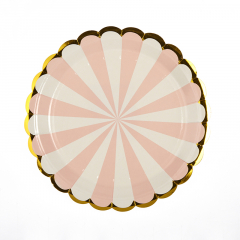 Πιάτα γλυκού 18εκ. ροζ ρίγες 10τεμ.