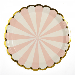 Πιάτα φαγητού 23εκ. ροζ ρίγες 10τεμ.