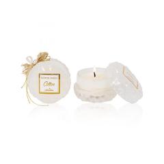 Αρωματικό κερί στρογγυλό λευκό γυάλινο cotton