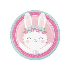 Πιάτα φαγητού 23εκ 1st Birthday Bunny 8τεμ