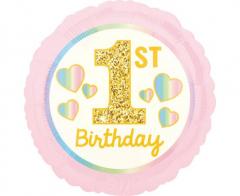 Μπαλόνι Φοιλ  ροζ/χρυσό 1st Birthday 43εκ.