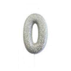 Ασημί κεράκι νούμερο 0 με γκλίτερ 7εκ