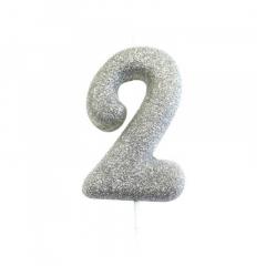 Ασημί κεράκι νούμερο 2 με γκλίτερ 7εκ