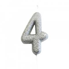 Ασημί κεράκι νούμερο 4 με γκλίτερ 7εκ