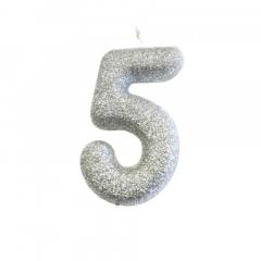 Ασημί κεράκι νούμερο 5 με γκλίτερ 7εκ