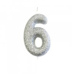 Ασημί κεράκι νούμερο 6 με γκλίτερ 7εκ