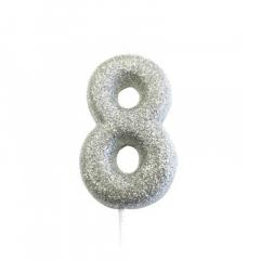 Ασημί κεράκι νούμερο 8 με γκλίτερ 7εκ