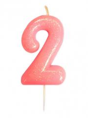Κεράκι νούμερο 2 ροζ ιριδίζον γκλίτερ