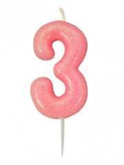 Κεράκι νούμερο 3 ροζ ιριδίζον γκλίτερ