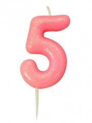 Κεράκι νούμερο 5 ροζ ιριδίζον γκλίτερ